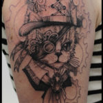laurelarth tattoo tatoueur lyon steampunk cat chat chapelier dandy finesse dotwork